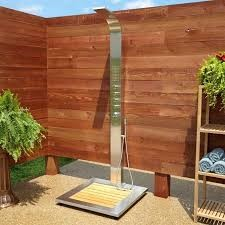 מקלחון מעץ איפאה או מקלחת חוץ לגינה מדק סינטטי